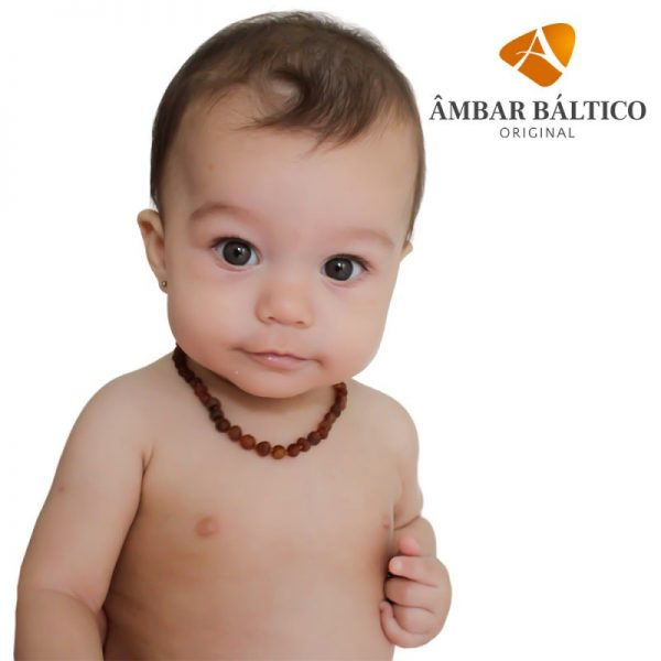 Colar de âmbar bebê barraoco cognac rústico - 33 cm