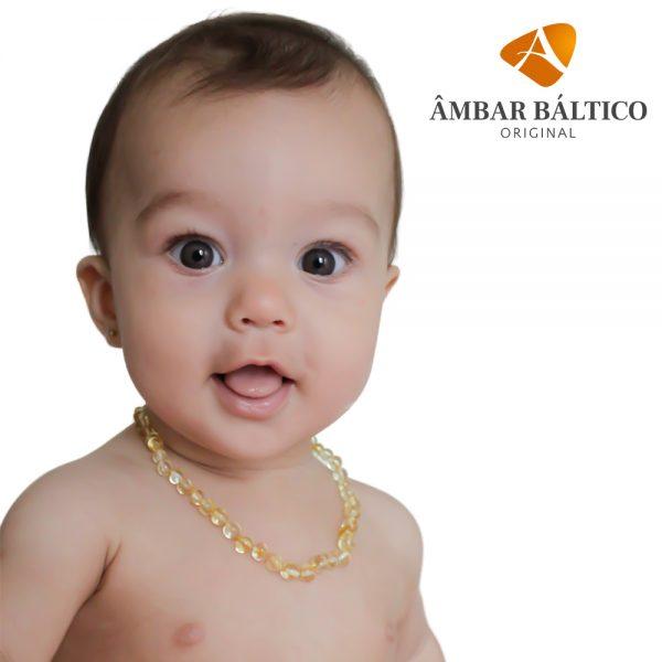 Colar de âmbar bebê barroco limão polido