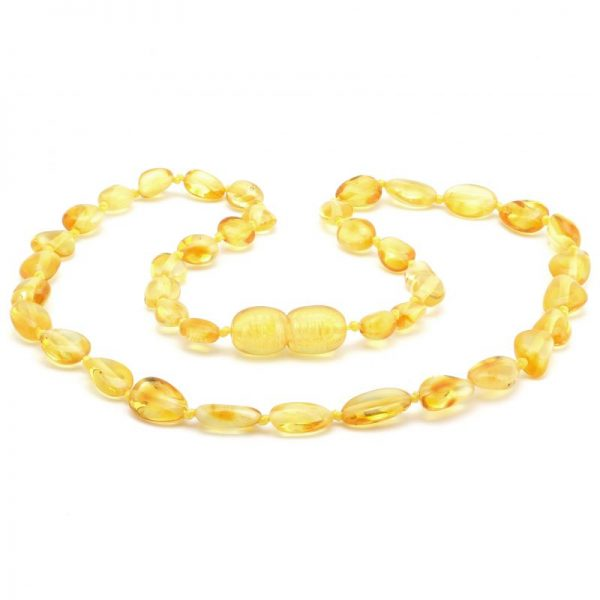 Colar de âmbar bebê olive limão polido - 33 cm