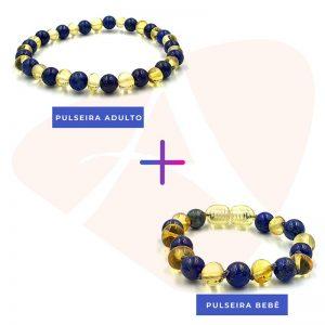 Kit com 2 pulseiras de âmbar para bebê e adulto barroco limão e lápis lázuli polido