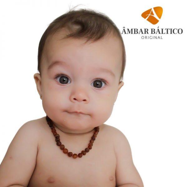 Colar de âmbar bebê barroco cognac rústico - 33 cm