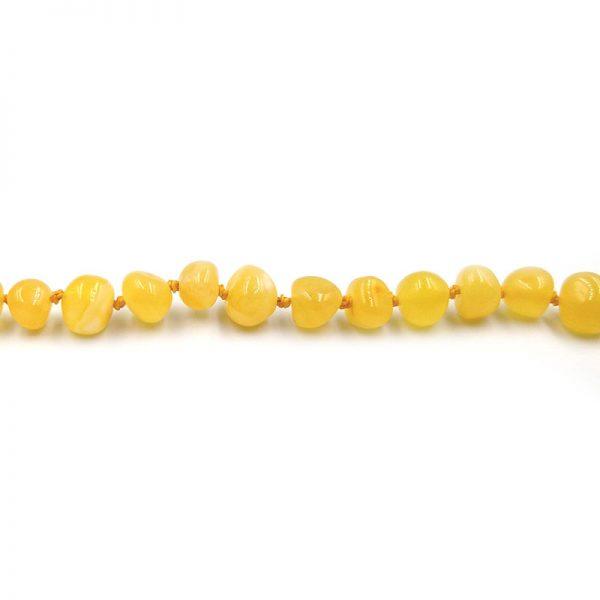 Pulseira de âmbar adulto barroco manteiga polido - 19 cm