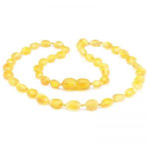 Colar de âmbar bebê olive limão rústico - 33 cm