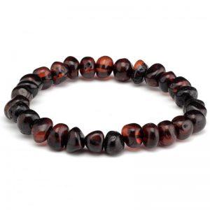Pulseira de âmbar adulto barroco cherry polido - 18 cm