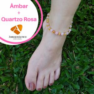 Tornozeleira de âmbar adulto barroco limão polido e quartzo rosa