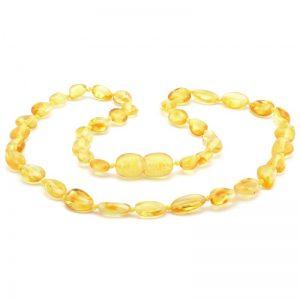 Colar de âmbar criança olive limão polido - 38 cm