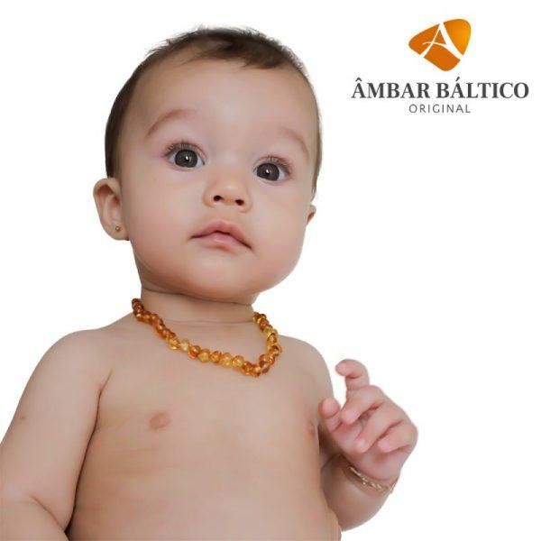 Colar de âmbar bebê barroco mel polido