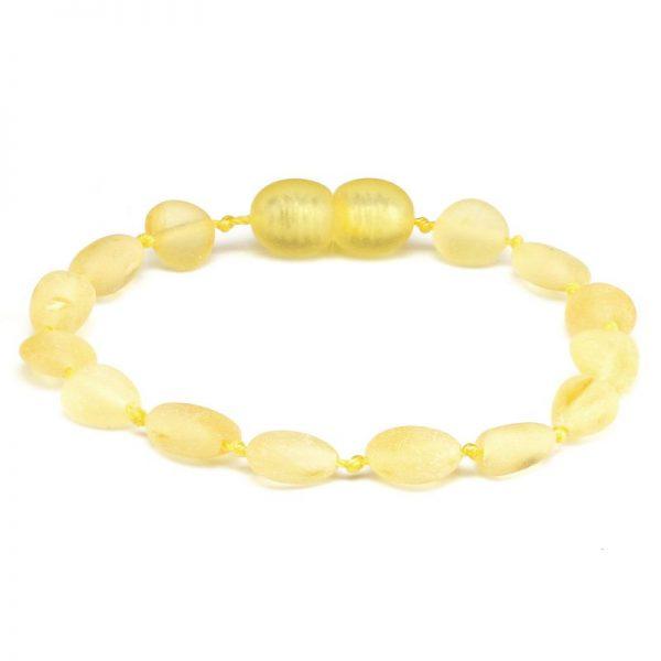 Pulseira / tornozeleira de âmbar criança olive limão rústico - 16,5 cm