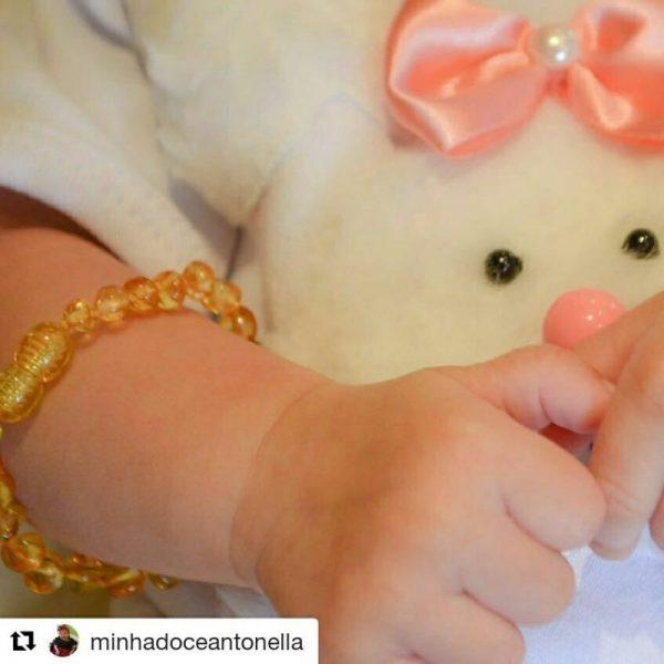 Pulseira / tornozeleira de âmbar bebê barroco limão polido - 14 cm
