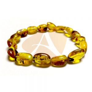 Pulseira de âmbar adulto olive mel com resíduos fósseis polido - 18 cm