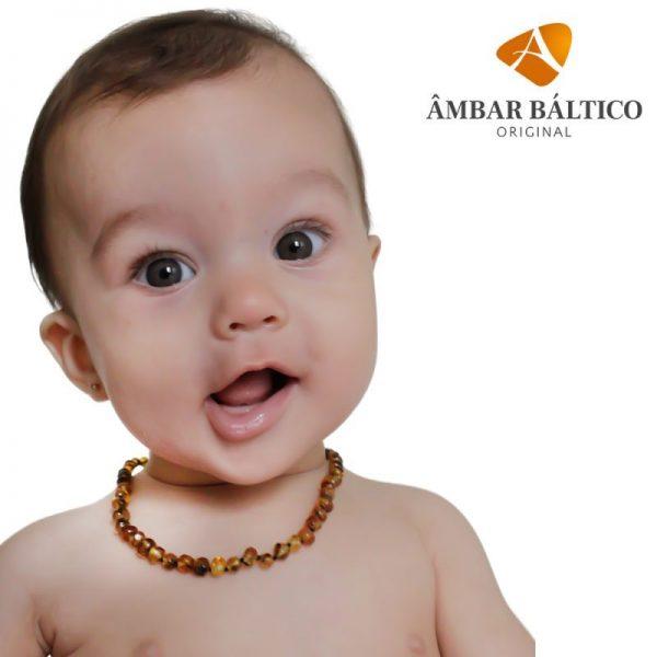 Colar de âmbar bebê barroco green curativo polido - 33 cm