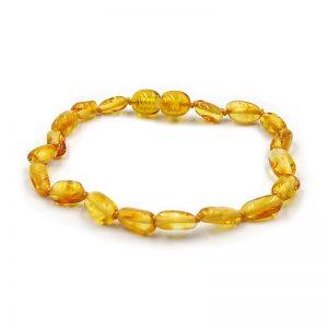 Pulseira de âmbar adulto olive mel polido - 19 cm