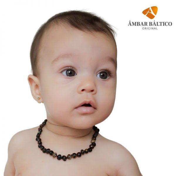 Colar de âmbar bebê barroco green escuro curativo polido - 33 cm