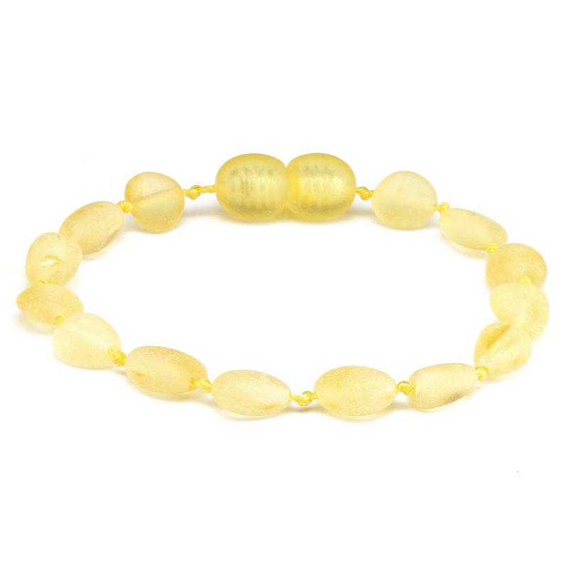 Pulseira / tornozeleira de âmbar bebê olive limão rústico - 14 cm