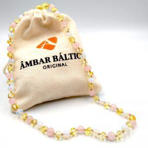 Colar de âmbar adulto barroco Sobrevivian com pedras naturais polido - 45 cm