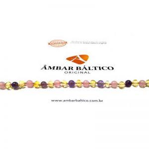 Colar de âmbar criança barroco premium limão, quartzo rosa e ametista polido - 38 cm
