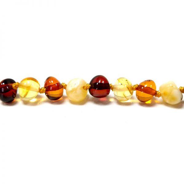 Tornozeleira de âmbar adulto barroco multicolor polido - 25 cm