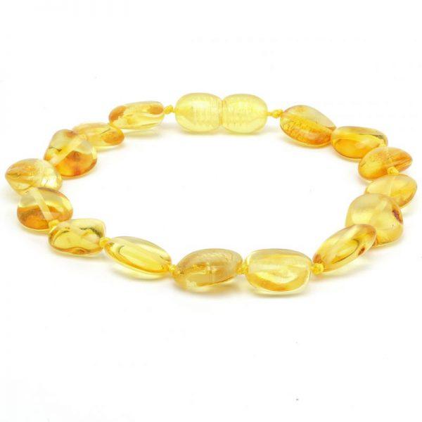 Pulseira de âmbar adulto olive limão polido - 20 cm