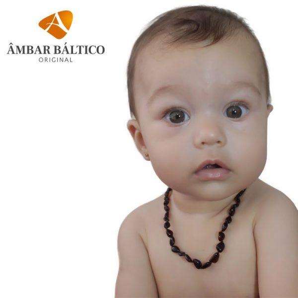 Colar de âmbar bebê olive cherry rústico - 33 cm