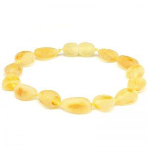 Pulseira de âmbar adulto olive limão rústico - 19 cm