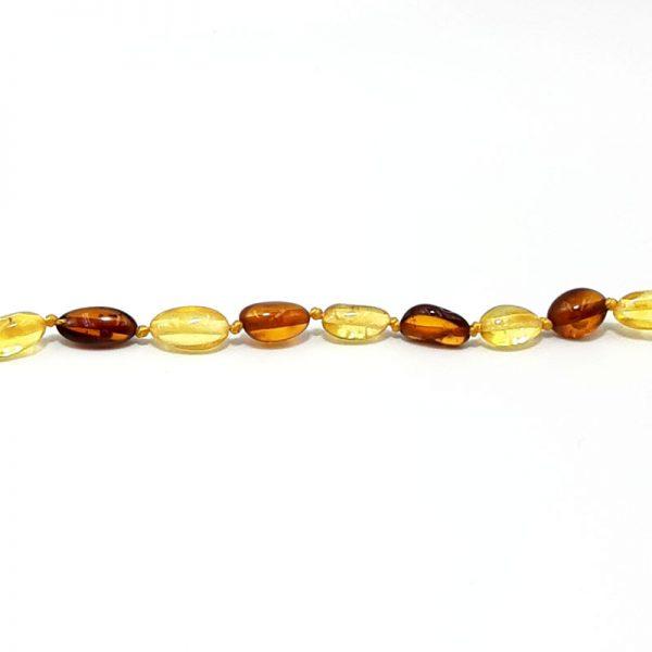 Colar de âmbar bebê olive mel e cognac polido - 33 cm