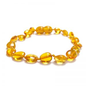 Pulseira / tornozeleira de âmbar criança olive mel polido - 16,5 cm