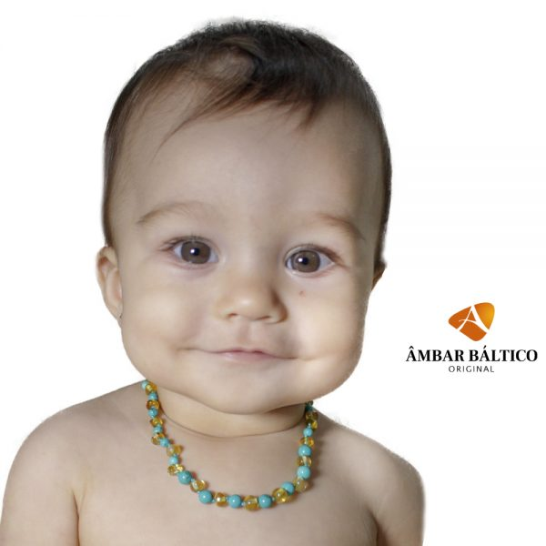 Colar de âmbar bebê barroco premium limão e turquesa polido - 33 cm