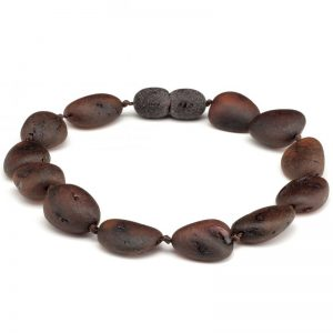 Pulseira de âmbar adulto olive cherry rústico - 19 cm