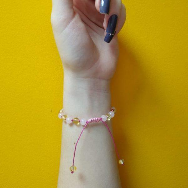 Pulseira shambala de âmbar adulto limão polido e quartzo rosa polido ajustável