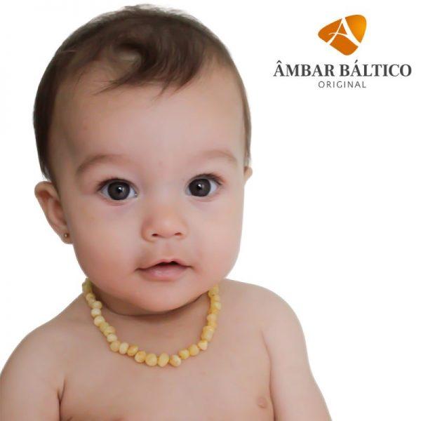 Colar de âmbar bebê barroco manteiga tonalidade rara polido - 33 cm