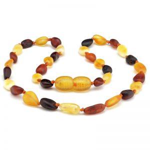 Colar de âmbar bebê olive multicolor rústico - 33 cm