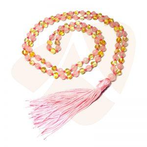 Japamala de âmbar barroco mel polido com quartzo rosa