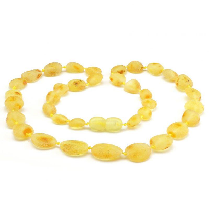 Colar de âmbar adulto olive limão rústico - 45 cm