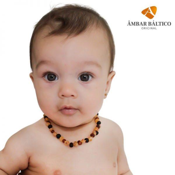 Colar de âmbar bebê barroco multicolor rústico - 33 cm