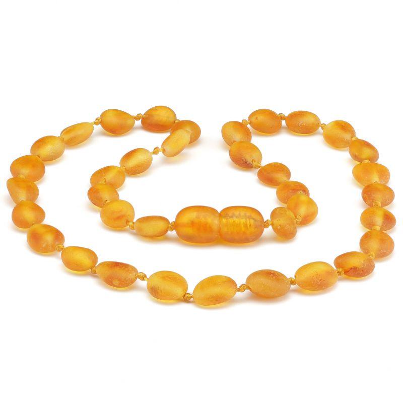 Colar de âmbar criança olive mel rústico - 38 cm