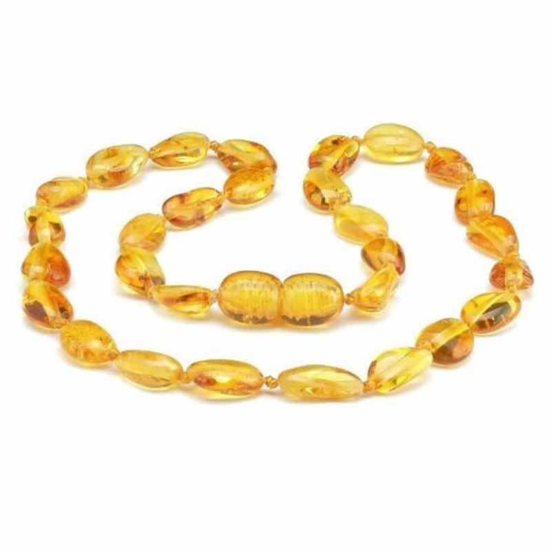 Colar de âmbar criança olive mel polido - 38 cm