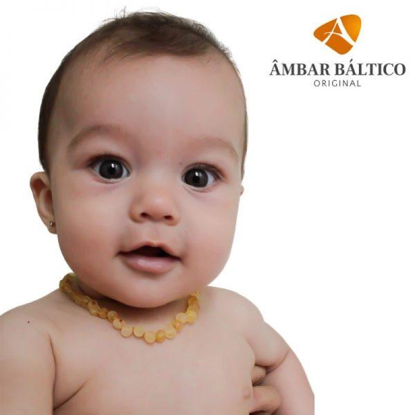 Colar de âmbar bebê barroco limão rústico - 33 cm
