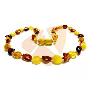 Colar de âmbar bebê olive multicolor polido - 33 cm