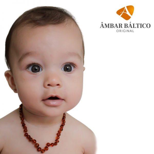 Colar de âmbar bebê barroco cognac polido - 33 cm