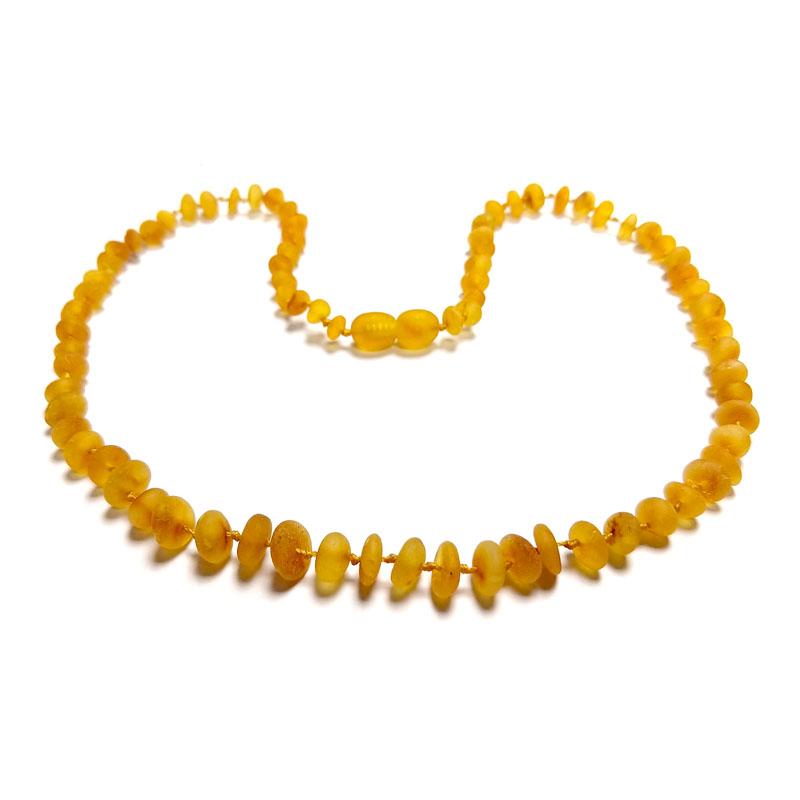 Colar de âmbar adulto arredondado mel rústico - 45 cm