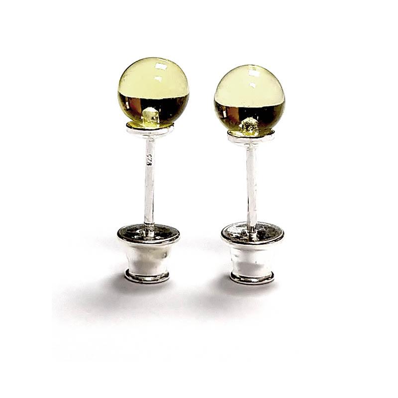 Brinco de âmbar esfera limão polido e prata