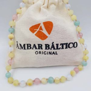 Colar de âmbar criança barroco manteiga rústico com opalina, amazonita e quartzo rosa - 38 cm