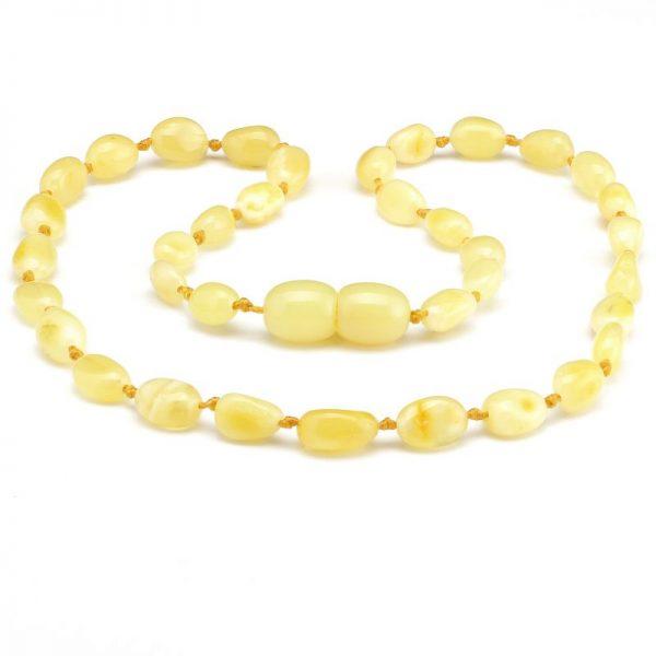 Colar de âmbar bebê olive manteiga tonalidade rara polido - 33 cm