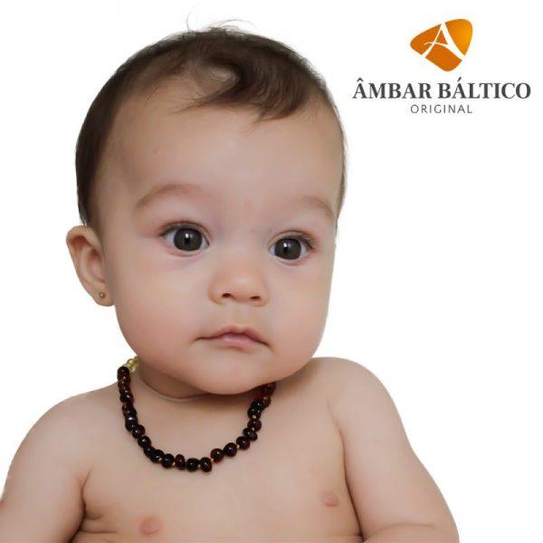 Colar de âmbar bebê barroco cherry polido - 33 cm